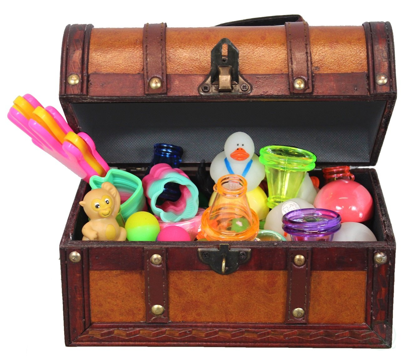 Leather Treasure Chest Full of Toys (Treasure Box and 50 Toy Pcs)
