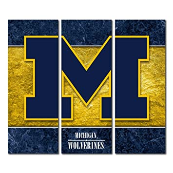 Amazon.com : Michigan Wolverines Triptych Canvas Wall Art Double ...