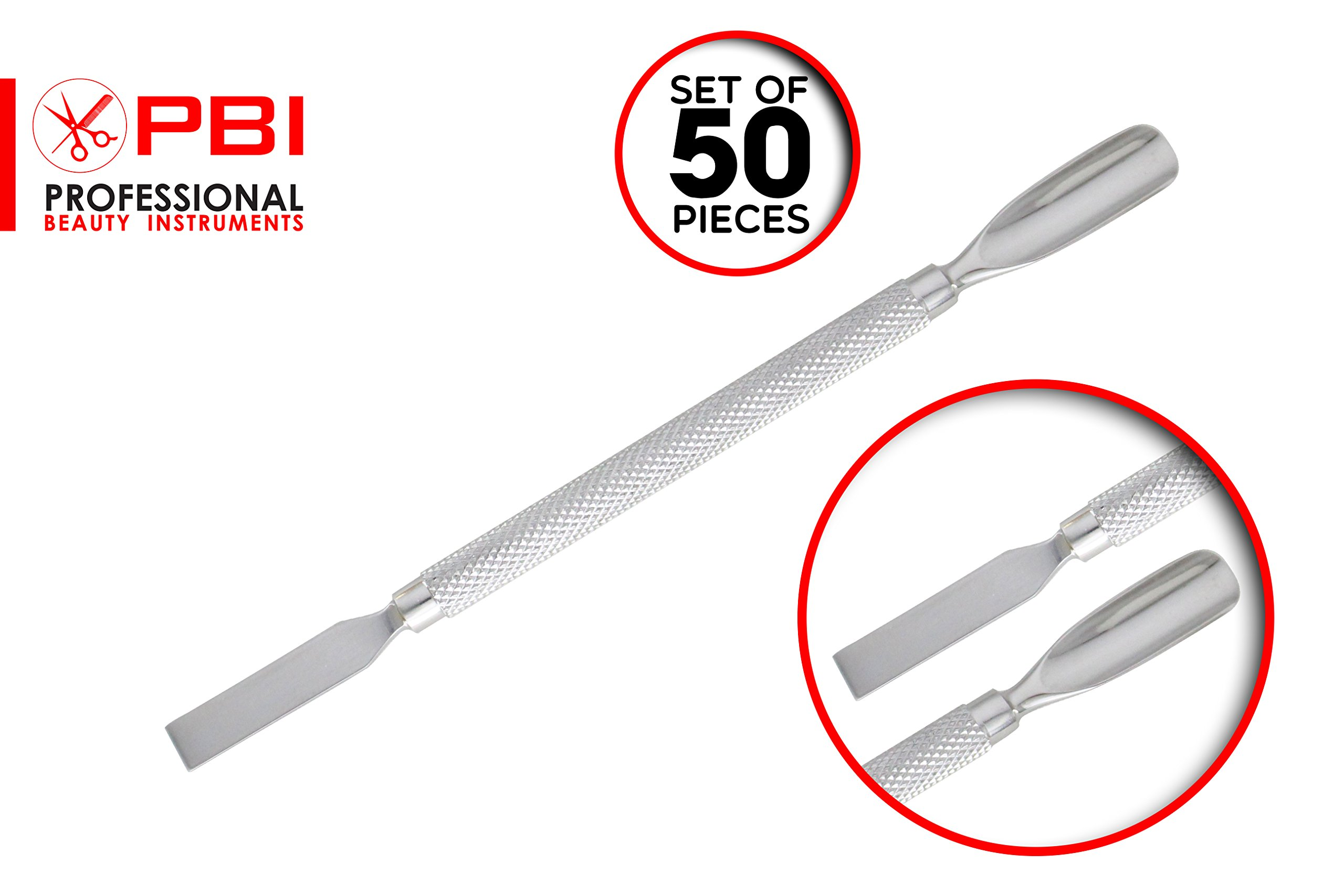 Cuticle pusher - Nail pusher - Manicure pedicure nail pusher - double function cuticle pusher - 14.5 cm - 50 pieces set - Stainless steel from PBI