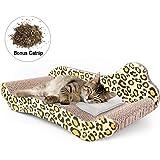 PrimePets Cat Scratcher Lounge, Corrugated Cat Scratch Cardboard Couch, Cat Scratch Bed Reversible Scratching Lounger…
