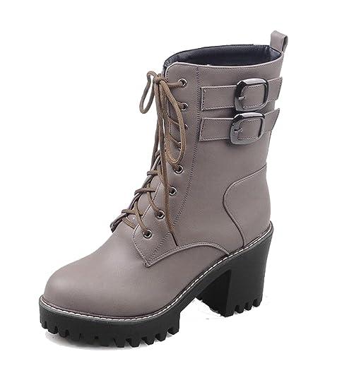 AgeeMi Shoes Donna Stringata Punta Chiusa Tonda Fibbia in Metallo Invernali  Stivali  Amazon.it  Scarpe e borse 9b850248735
