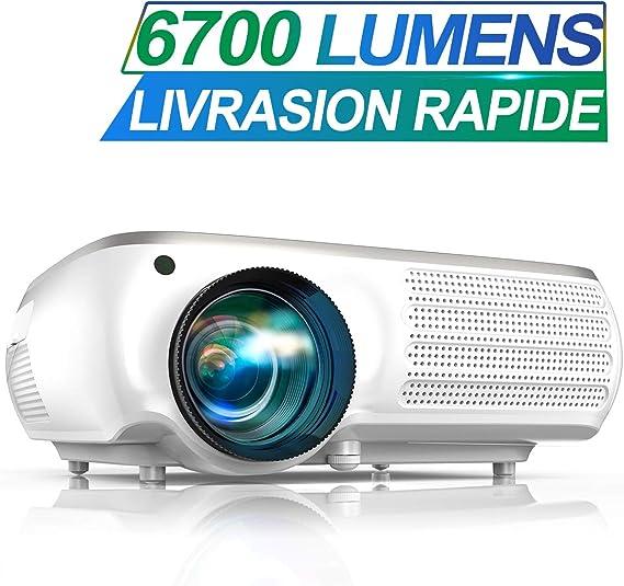 Vidéoprojecteur, TOPTRO 6700 Lumens Vidéo Projecteur Full HD 1920x1080P Natif Rétroprojecteur LCD Soutien 4K, Son Dolby, Correction Digital 4D, Fonction Zoom ±50°, pour Home Cinéma et Présentation PPT