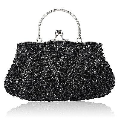 8499cc279f25 Collection Antique Floral Seed Bead Sequin Soft Clutch Evening Bag Designer  Purse Large Clutch Handbag (
