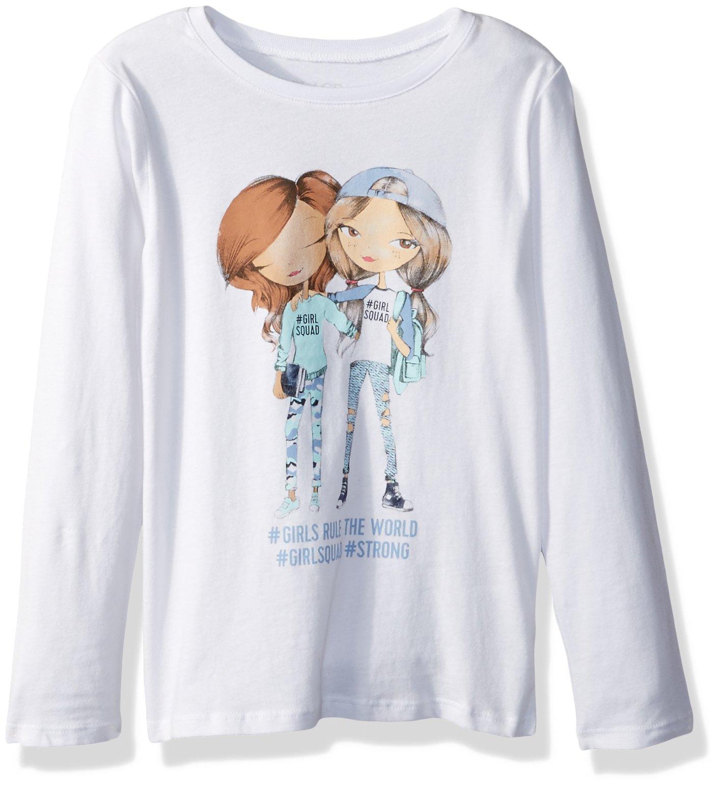 The Children's Place Big Girls' Long Sleeve T-Shirt 3, White 88613, XL (14)