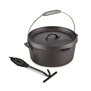 KLARSTEIN HOTROD 85 DUTCH OVEN BBQ • Cast Iron Pot for Cooking • Frying • Baking • Open Fire • Dutch Oven Pot with 8.5qt / 8.0L • Extra-High Lid Rim • Easy Handling
