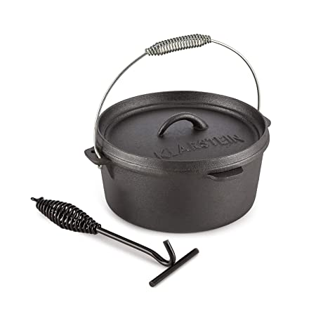 KLARSTEIN HOTROD 45 DUTCH OVEN BBQ Cast Iron Pot for Cooking Frying Baking Open Fire Dutch Oven Pot with 4.5qt 4L Extra-High Lid Rim Easy Handling Through Lid