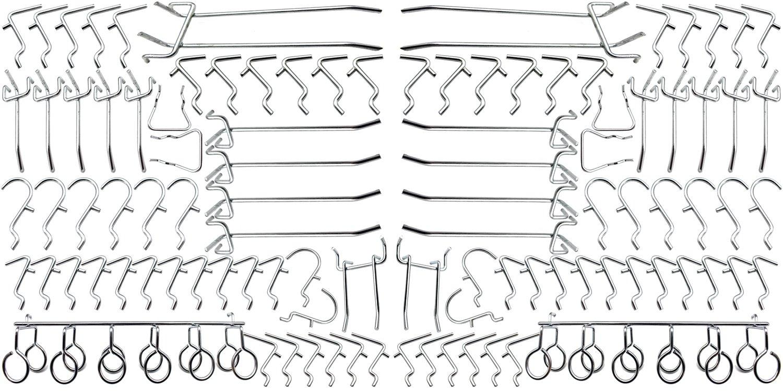 100 PC Pegboard Metal Hooks Assortment Pegboard Organization Storage Shop Tools Display