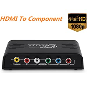 Cingk 1080P HDMI To Component Video (YPbPr) Scaler Converter Adapter with Coaxial Audio Output