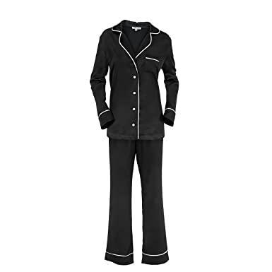 5383b2053c7f5c Sleep Luxe Women s Long Sleeve Black Satin Pajama Set at Amazon ...