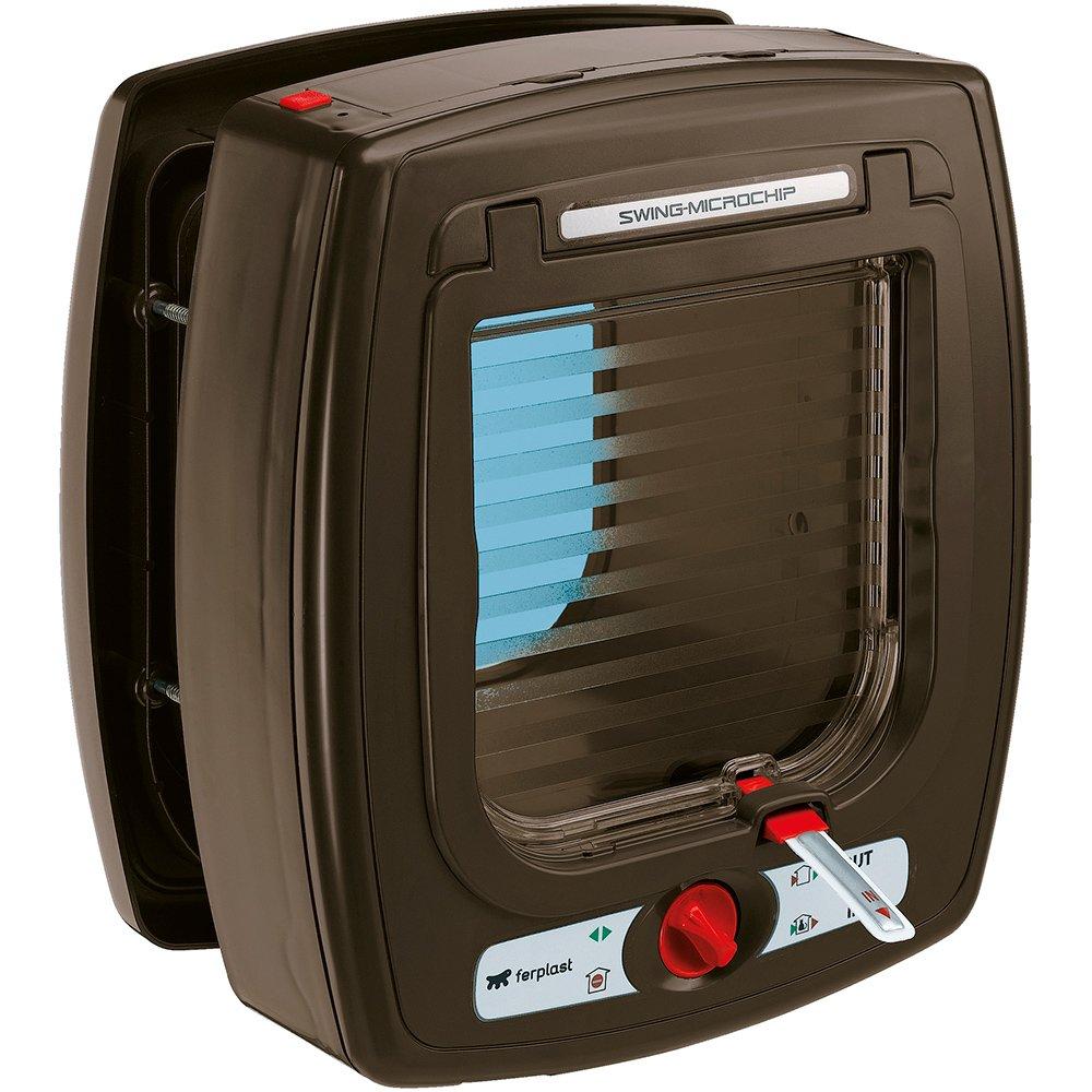Ferplast Cat door with microchip Swing Microchip, One size/8.86 x 6.38 x h 9.92'', Brown