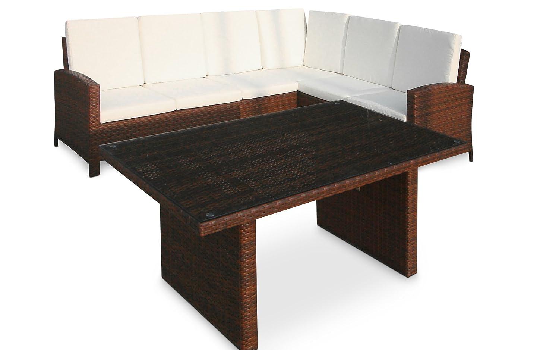 Baidani Designer Sitzgruppe Suntrap, 1 Ecksofa, 1 Tisch mit Glasplatte (Sicherheitsglas), braun