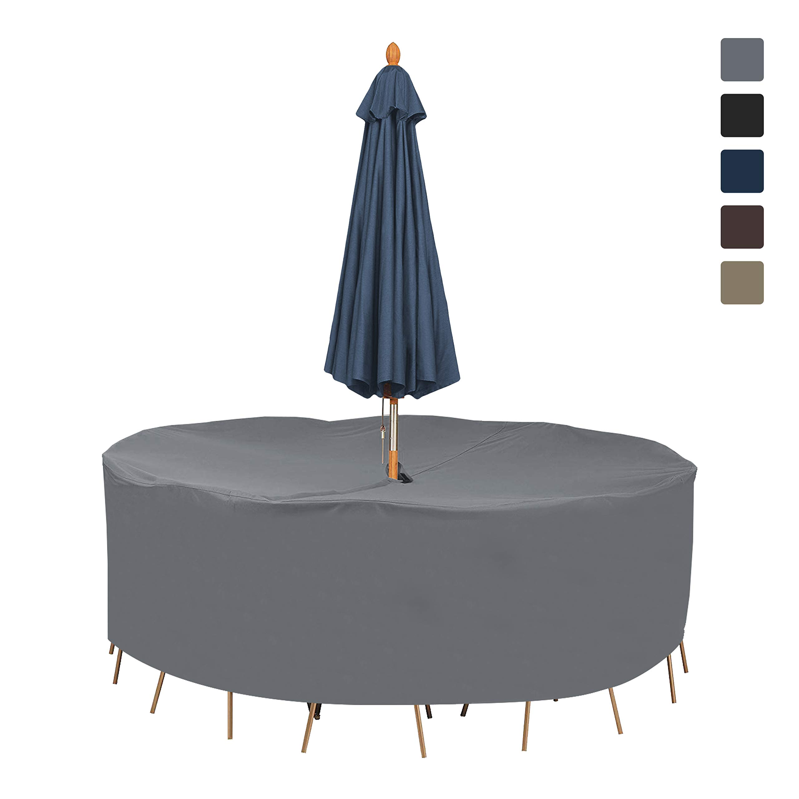 Patio Round Table & Chair Set Cover with Umbrella Hole 12 Oz Waterproof - 100% UV & Weather Resistant Outdoor Table Cover with Air Pocket and Drawstring for Snug Fit (94'' Dia x 30'' H, Grey)