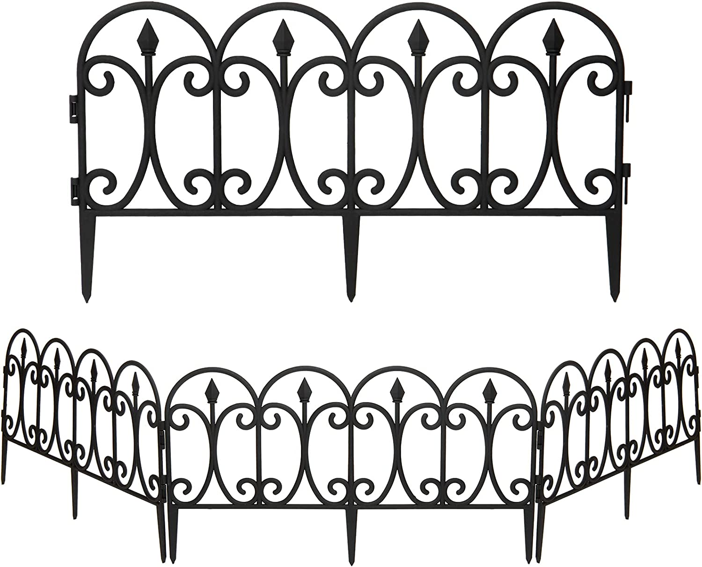 4pcs Black Decorative Garden Fences, Ornamental Landscape Wire Folding Fencing Border Edge for Garden Backyard Flower Bed Lawn Decor(13inch×24inch)