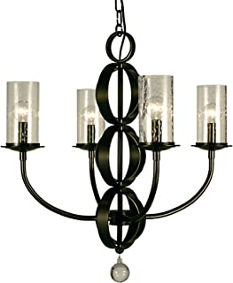 product image for Framburg 1044 MB Compass 4-Light Chandelier with Clear Seedy Glass, Mahogany Bronze