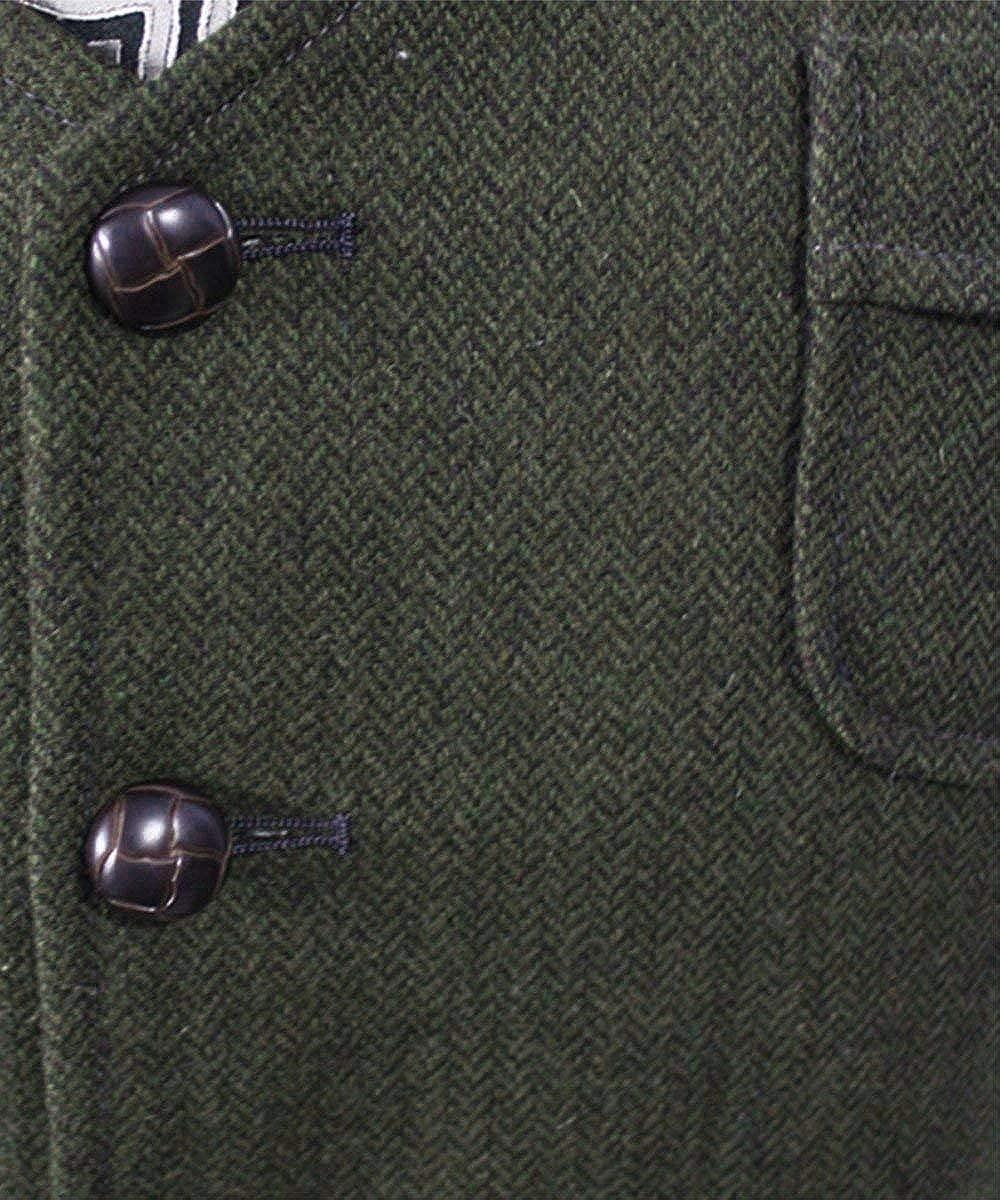 Pretygril Mens V Neck Wool Herringbone Tweed Casual Waistcoat Business Suit Vest