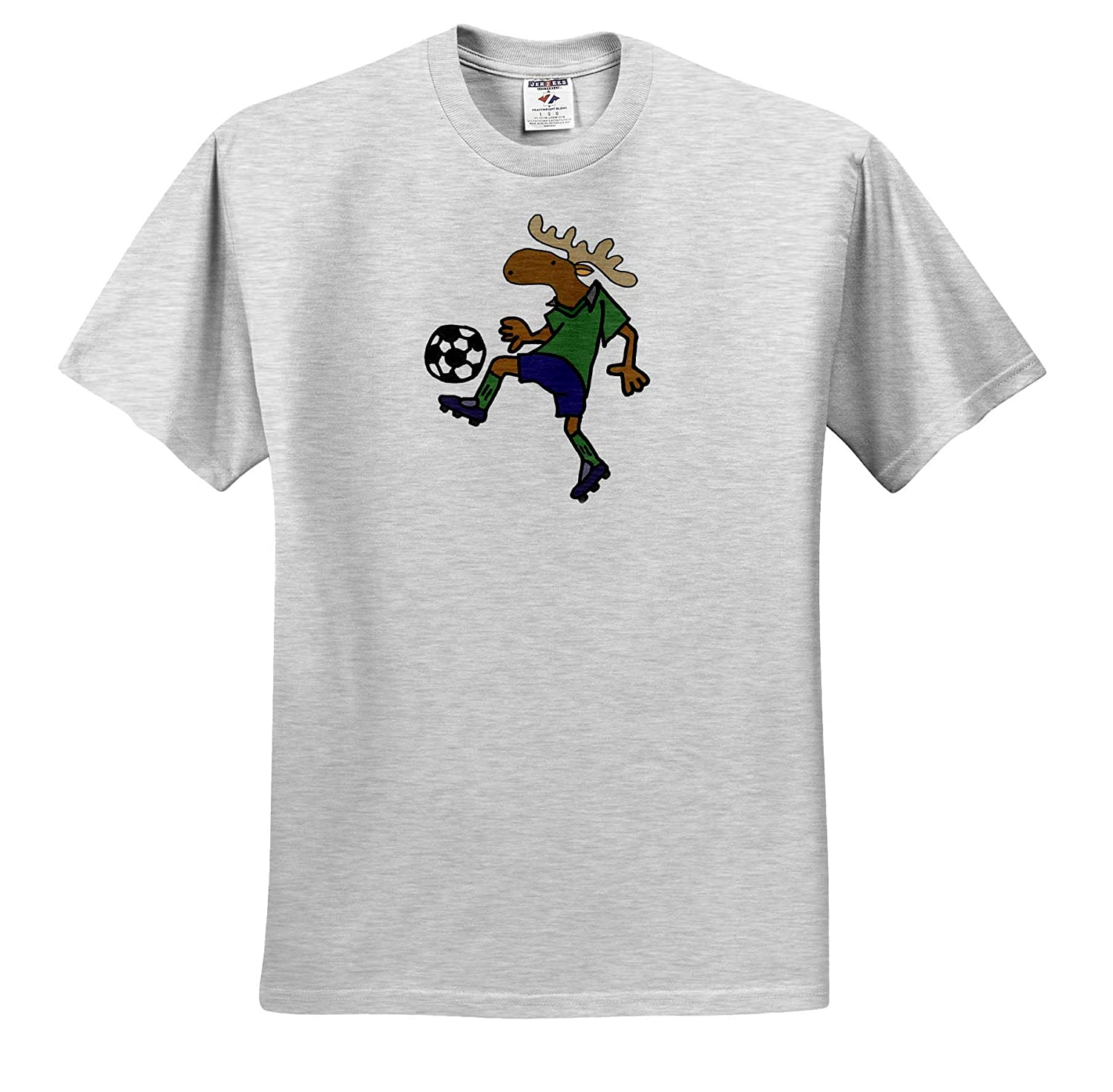 Animals 3dRose All Smiles Art T-Shirts Cute Funny Moose Playing Soccer Action Cartoon