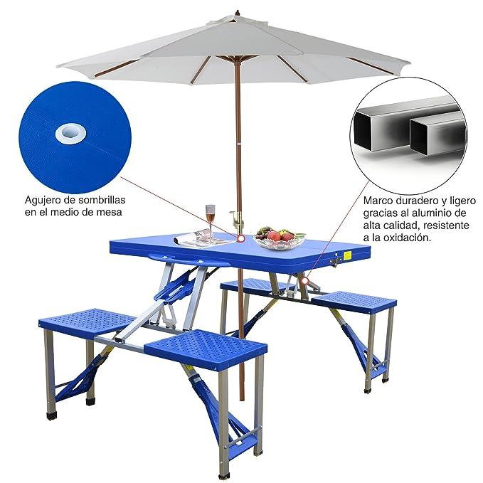 Mesa Plegable de Camping – con 4 Sillas – Aluminio – Medidas 84.5 x 64.5 x 66 cm