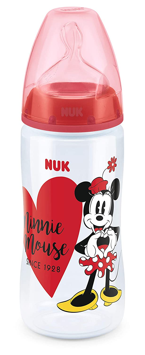 NUK Mickey y Minnie First Choice botella 300ml con tetina de silicona Tamaño 2 (6-18 meses), modelos surtidos