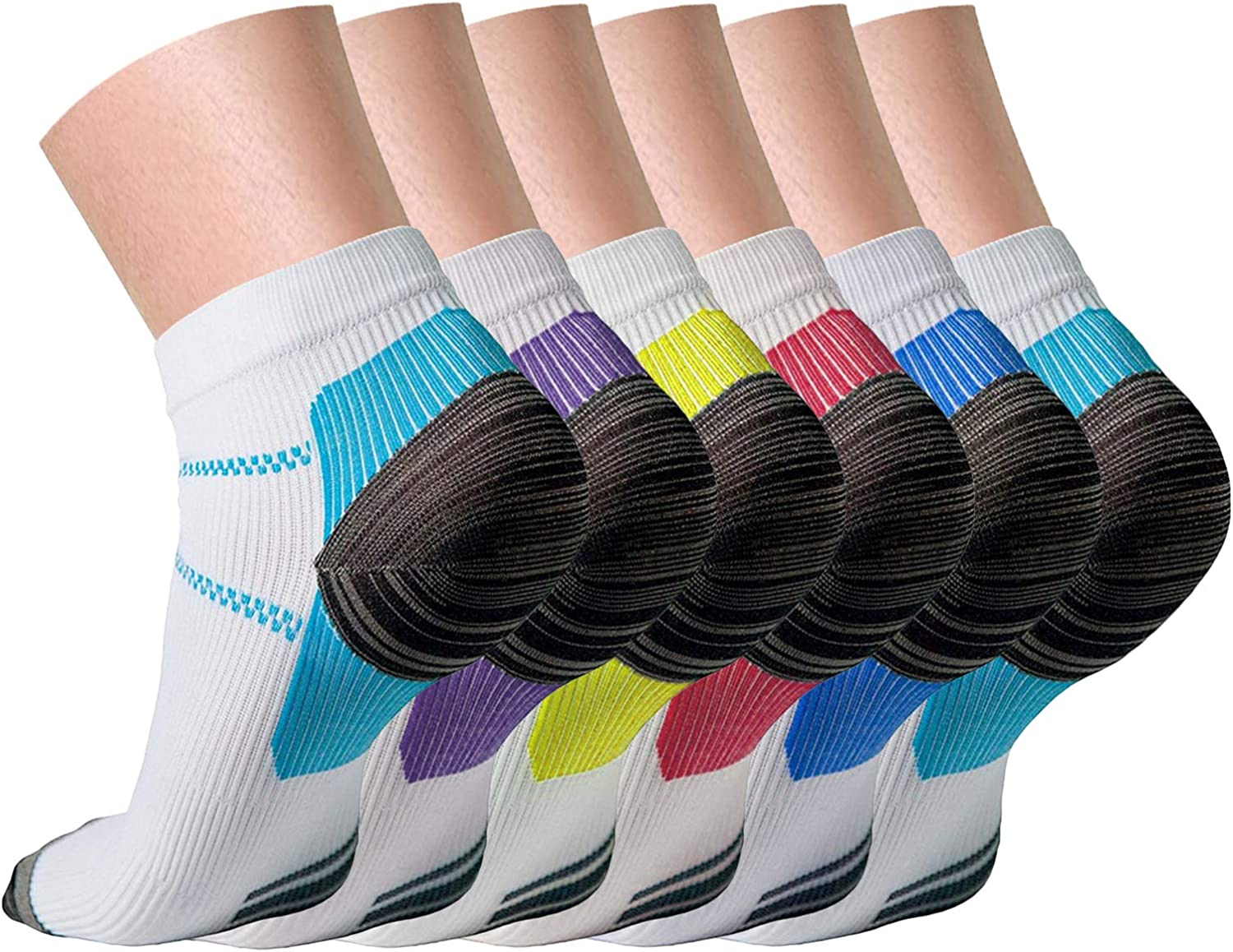 QUXIANG Compression Socks for Women and Men (3/6/7 Pairs) Arch Support Low Cut 15-20 mmHg is Best for Athletics, Running