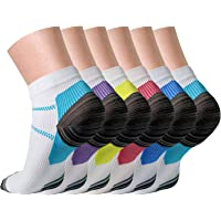 QUXIANG Compression Socks for Women & Men Circulation 3/6/7 Pairs Arch Ankle Support 15-20 mmHg Best for Running Cycling