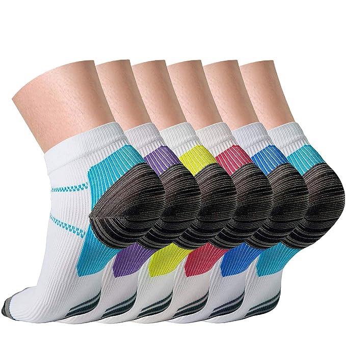 Compression Socks for Women and Men Sport Plantar Fasciitis Arch Support Low Cut Running Gym Compression Foot Socks/Foot Sleeves 15-20 mmHg Best for Sports Nursing Athletic Edema Travel(Multi 01, S/M) best plantar fasciitis remedies