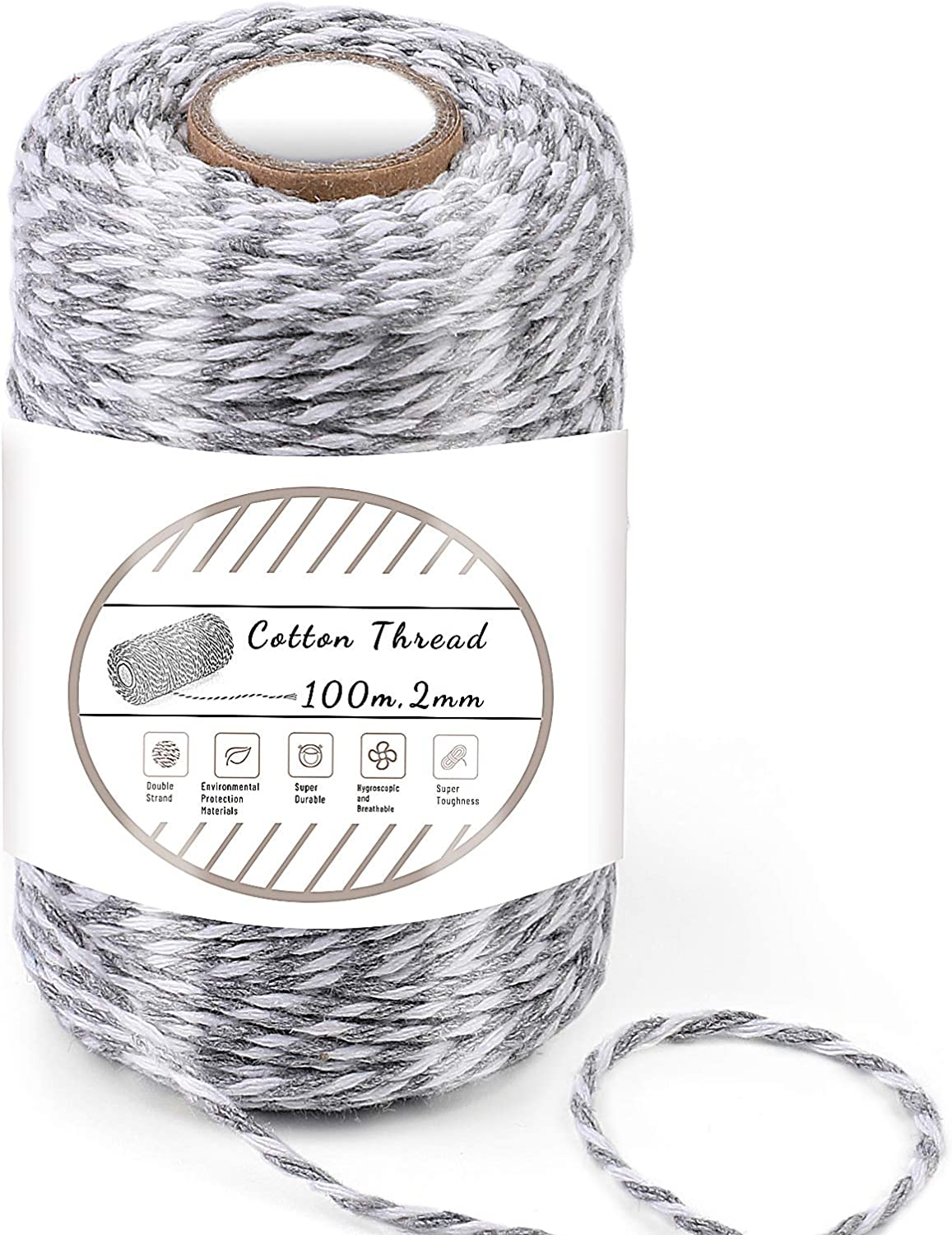 Gray and White Cotton String, 100M/328 Feet Cotton Bakers Twine String, Cotton Cord, Gift Wrapping Twine for Baking, DIY Crafts, Home Decoration (2MM)