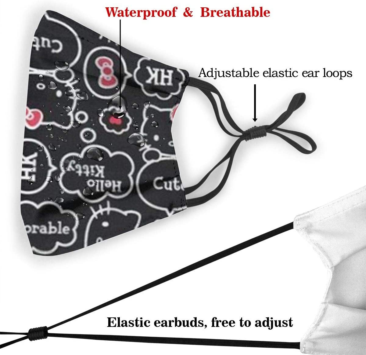DNBCJJ Mundschutz mit auswechselbarem Flitter für Erwachsene und Kinder atmungsaktiv wiederverwendbar Motiv Hello Kitty