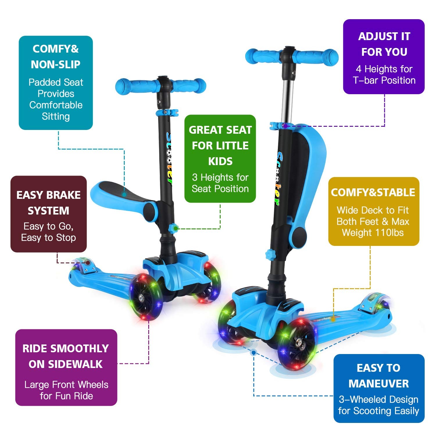 3 Wheel Scooter for Toddlers Girls /& Boys Adjustable Height BELEEV 2 in 1 Kick Scooter for Kids with Folding Seat Lean to Steer with PU Light Up Wheels for Children from 2 to 14 Years Old