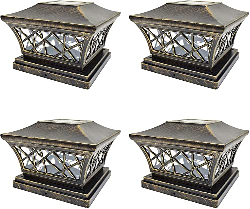 iGlow 4 Pack Vintage Bronze 6 x 6 Solar Post Light SMD LED Deck Cap Square Fence Outdoor Garden Landscape PVC Vinyl Wood