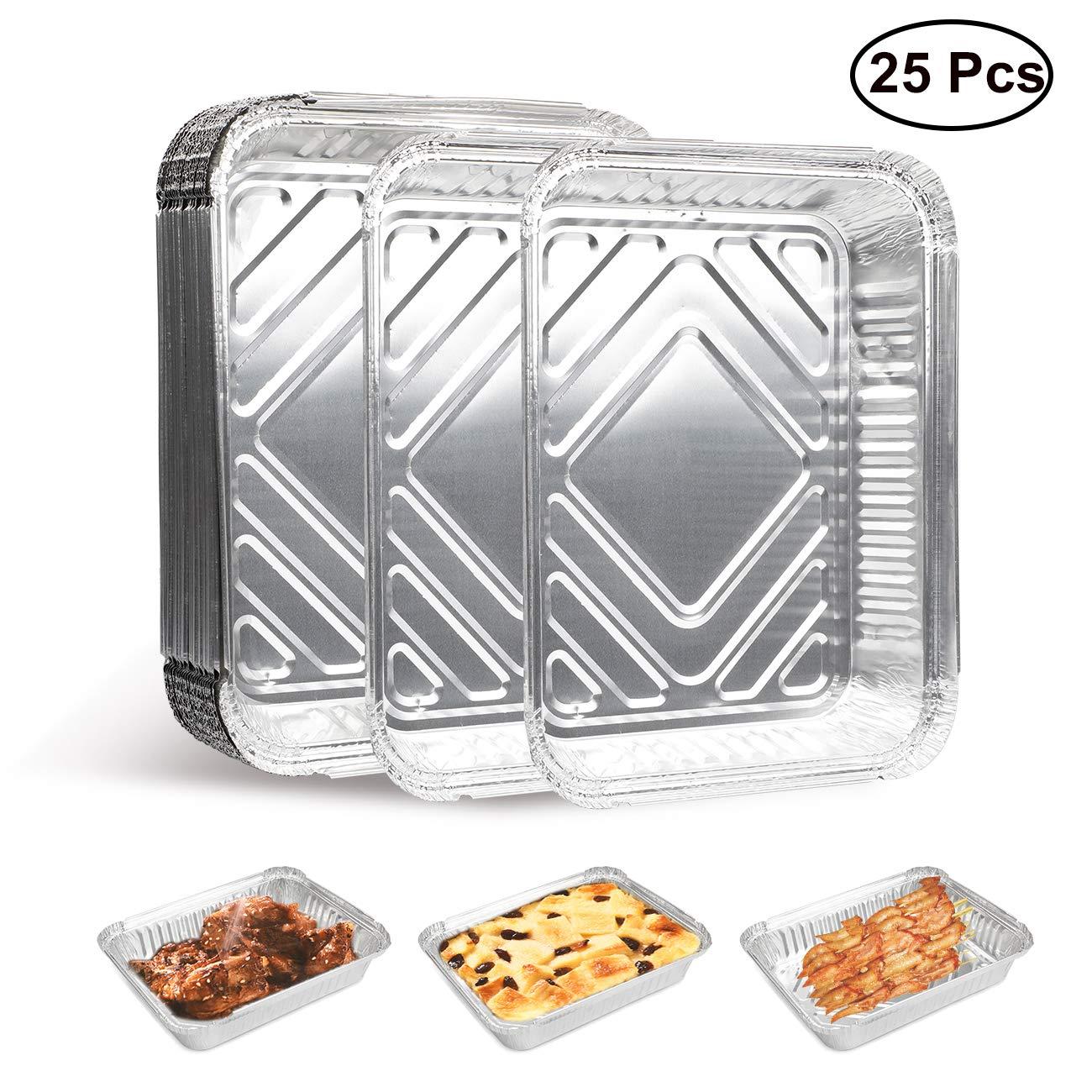 MojiDecor 25 Lot de 25 Bols à Barbecue en Aluminium Parfait pour Barbecue, pâtisserie, pâtisserie et Conservation de Nourriture 23 x 18 x 4,5 cm