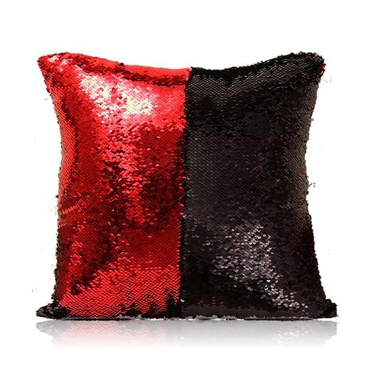 HomeLava Fundas de Cojín DIY Cojín Lentejuelas 40x40cm,Rojo + Negro