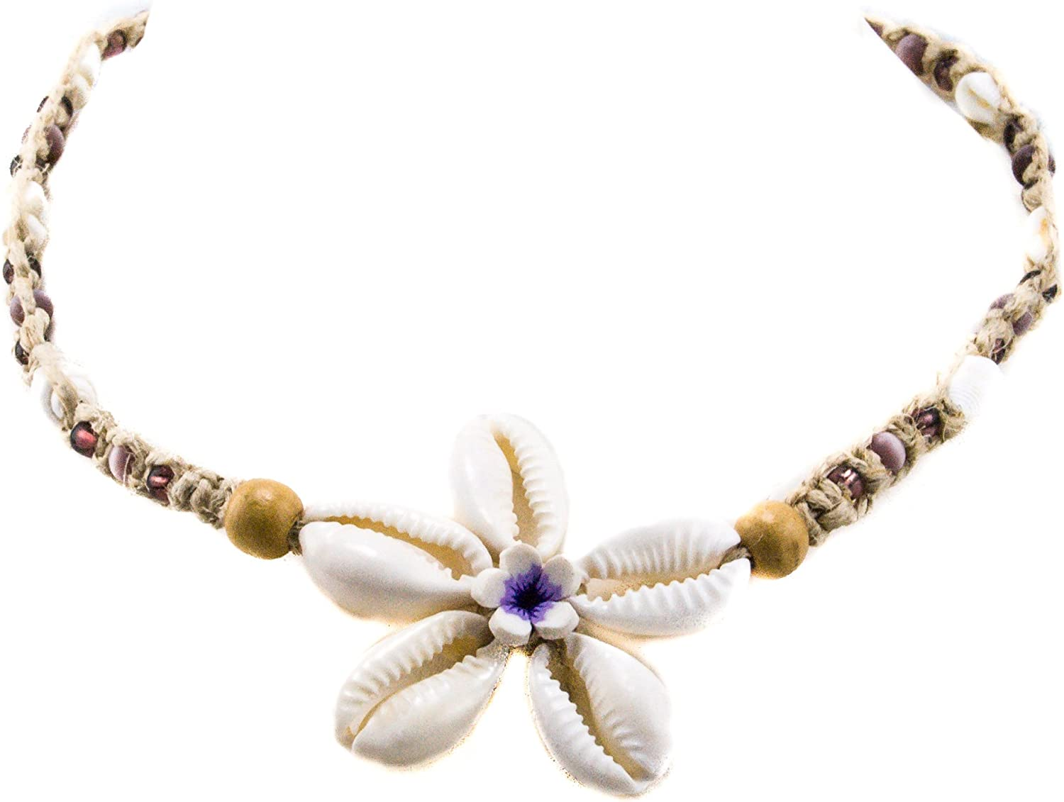 BlueRica Hemp Choker Necklace with Cowrie and Fimo Flower Pendant Purple Glass and Purple Catseye Beads