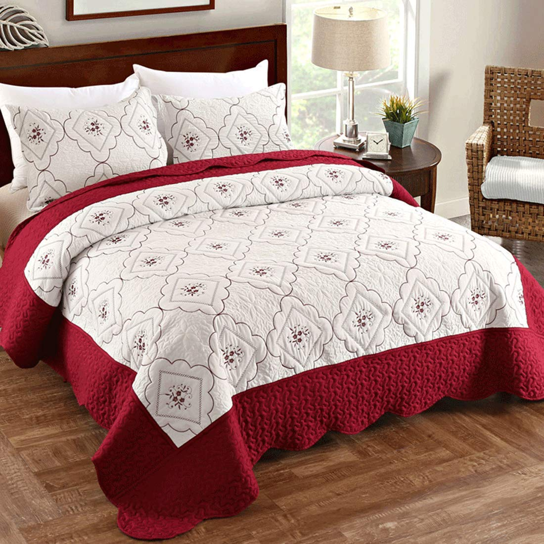 Embroidered Coverlet Set Burgundy White,3 Piece(1 Quilt + 2 Pillow Shams)
