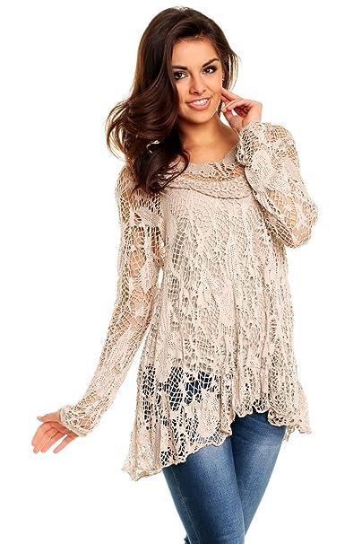 a6ae779f71871 Italy Mayaadi Damen Tunika 2 tlg. Spitze Lagenlook Zipfel Shirt Bluse  Passend für SL 8054