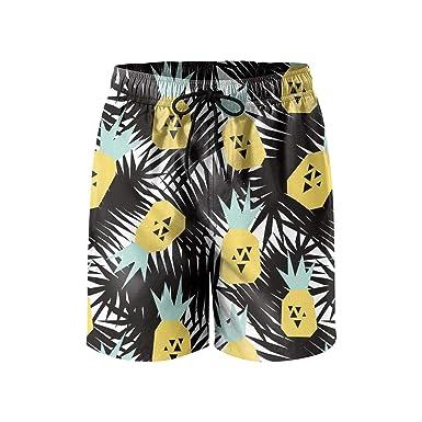 607d770d5fe87 Amazon.com: RivasPsm Men's Black Pineapple Tree Plant Swim Trunks Quick Dry  Beach Shorts Slim Fit Board Shorts: Clothing