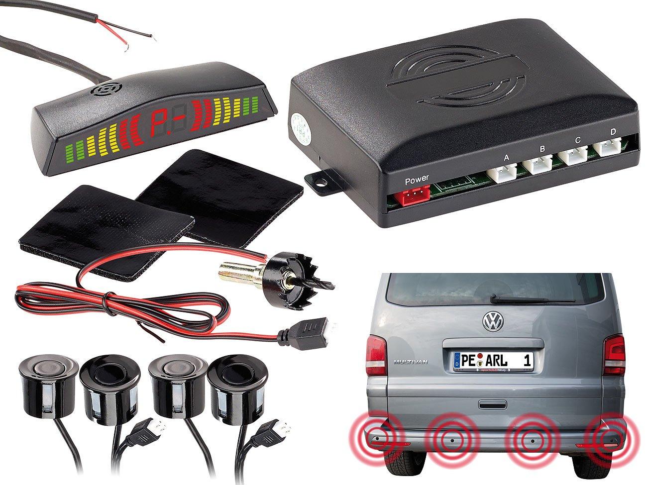 Lescars Parksensoren mit 4 Sensoren /& Armaturen-Display Funk-R/ückfahrhilfe PA-280 f/ür Pkw Akustische Funk Einparkhilfen