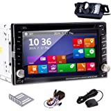 EinCar 6.2-Inch Double Din In Dash Car DVD Player with Steering Wheel Control, GPS Navigation, Bluetooth, Rear Camera and iPod Support
