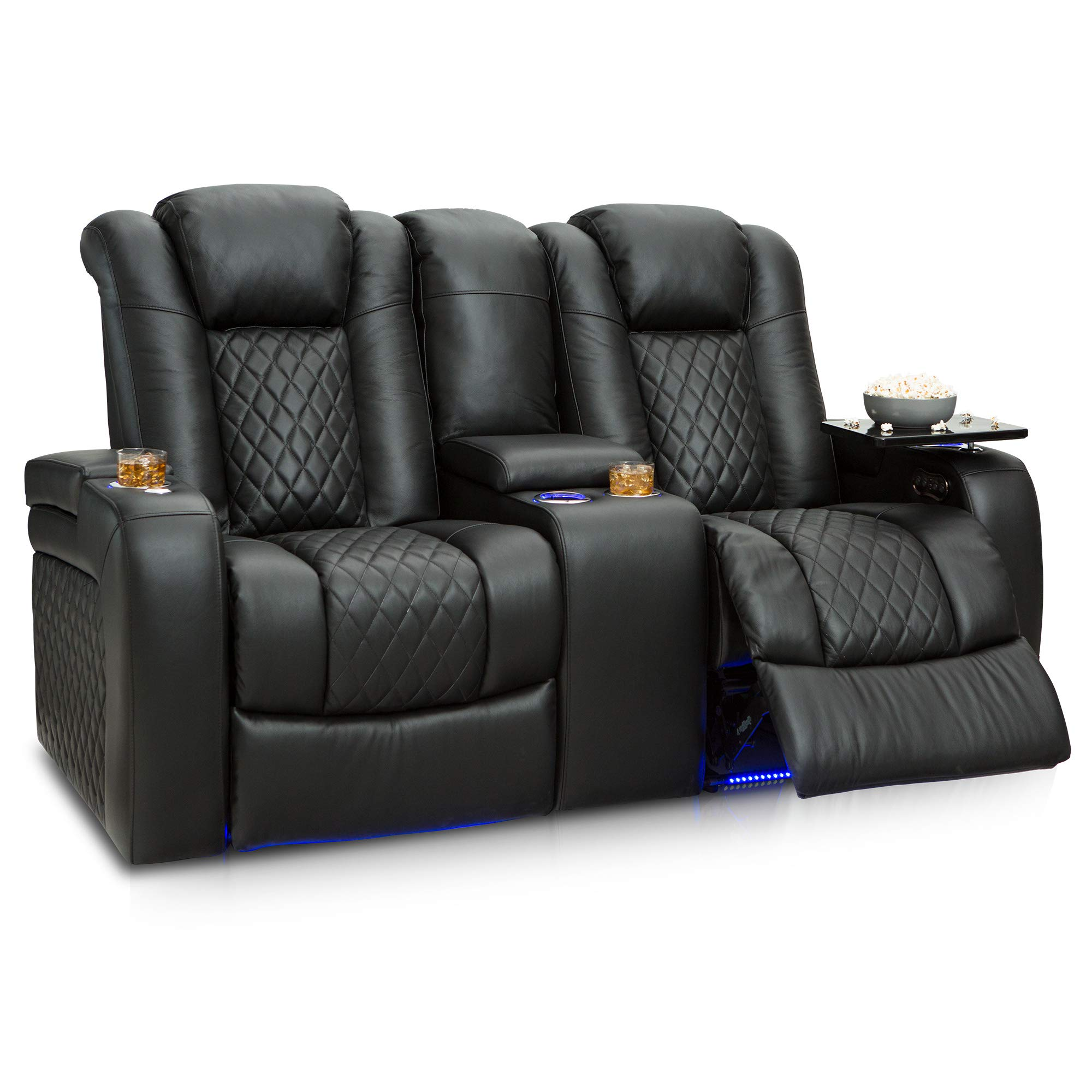 Seatcraft Anthem Home Theater Seating Leather Power Recline Loveseat with Center Storage Console, Powered Headrests, Storage, and Cupholders (Black) by Seatcraft
