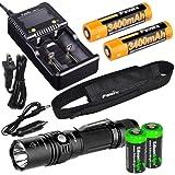EdisonBright Fenix PD35 TAC 1000 Lumen CREE LED Tactical Flashlight, advanced smart battery charger, Two Fenix 18650 ARB-L2S 3400mAh rechargeable batteries with 2X CR123A Batteries bundle
