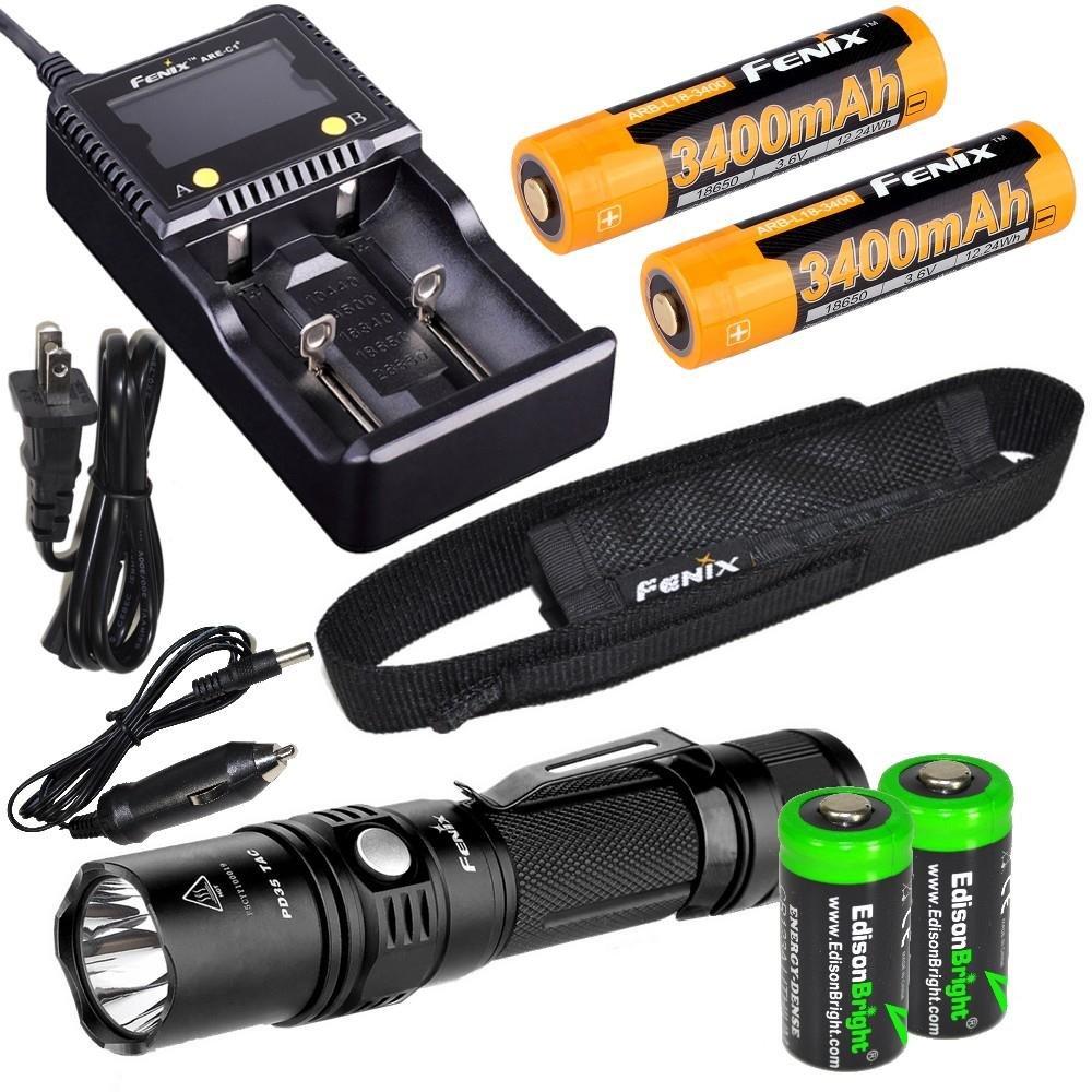 Fenix PD35 TAC 1000 Lumens LED CREE linterna táctica, cargador inteligente avanzada, 18650 ARB-L2S 3400 mAh Fenix dos baterías recargables con 2X ...