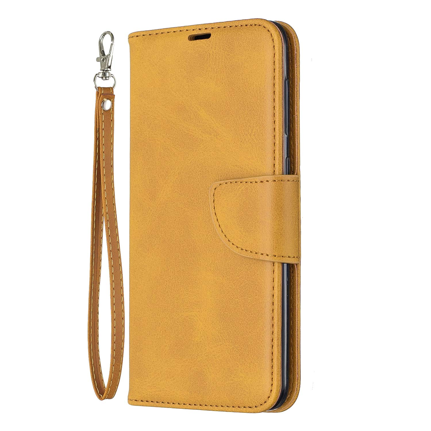 Huphant Compatible for Schutzh/ülle Samsung Galaxy A50 H/ülle,Brieftasche Klapph/ülle Embossed Kartenf/ächer Solid Color Gesch/äft Wallet Flip H/ülle for Samsung Galaxy A50 Handyh/ülle Brown