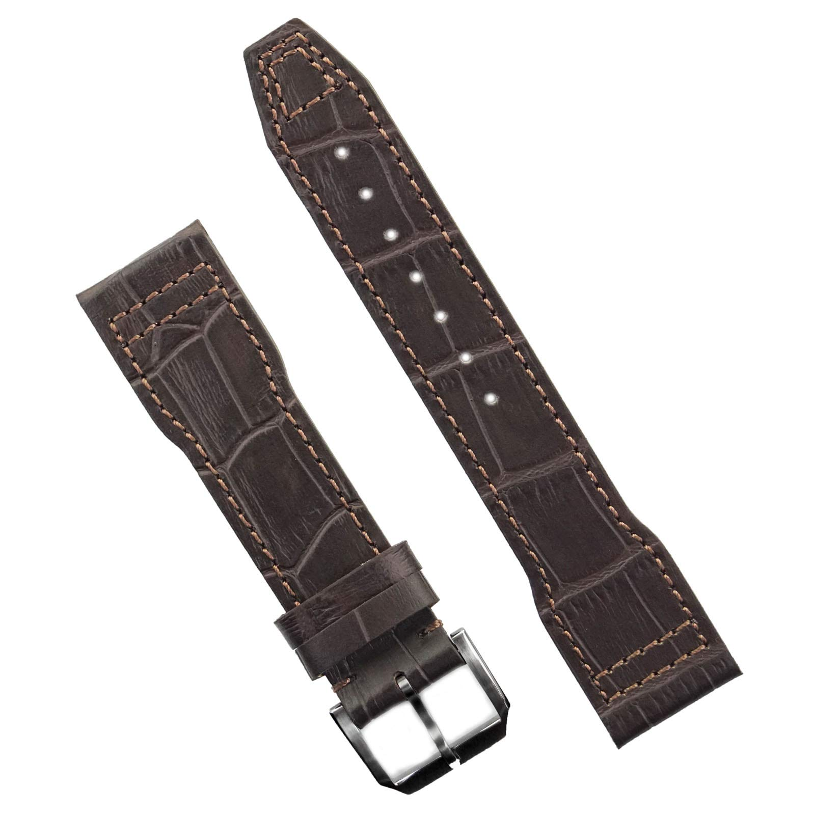 B & R Bands 20mm Brown Gator Leather IWC Pilot Style Watch Band Strap