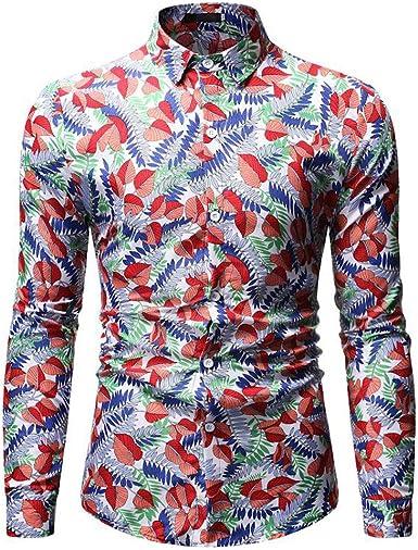 Aiserkly - Blusa de Manga Larga para Hombre, Estilo Hawaiano ...