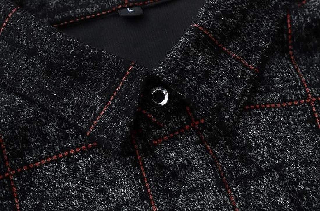 Fensajomon Mens Plaid Shirts Business Long Sleeve Button Down Loose Dress Shirts