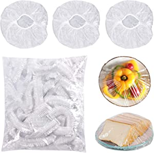 100Pcs Elastic Bowl Covers Reusable, Plastic Wrap for Food Elastic Storage Covers, Adjustable Food Covers for Outside, Stretchable Plastic Food Wrap Bowl Covers for Leftover and Picnic Meal