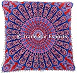 26 x 26 Euro Pillow Sham Decorative Mandala Cushion Cover, Large Meditation Pillow, Ethnic Cotton Cushion (Pattern 20)