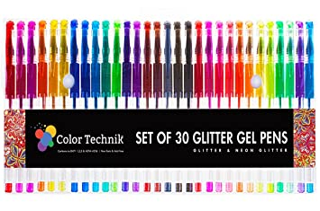 glitter gel pens by color technik set of 30 glitter pens best assorted colors