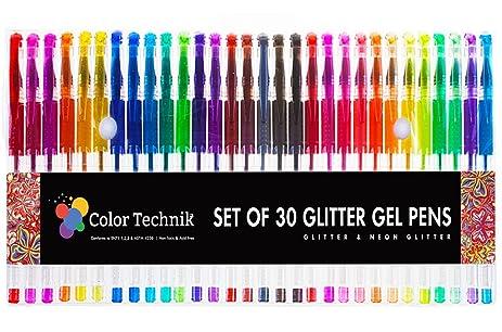 Glitter Gel Pens By Color Technik Set Of 30 Best Assorted Colors