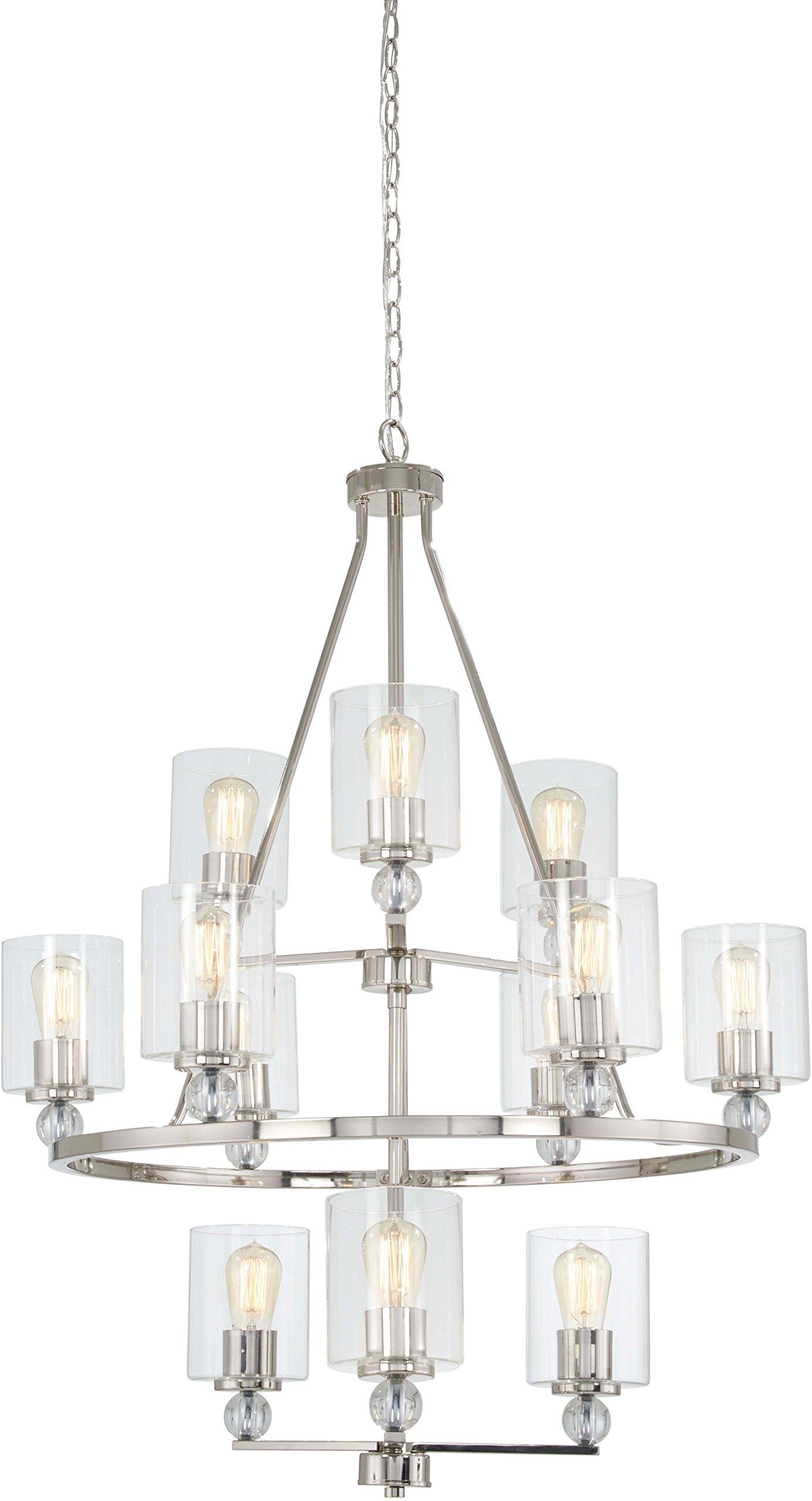 Minka Lavery Chandelier Pendant Lighting 3088-613 Studio 5 Dining Room Fixture, 12-Light 720 Watts, Polished Nickel