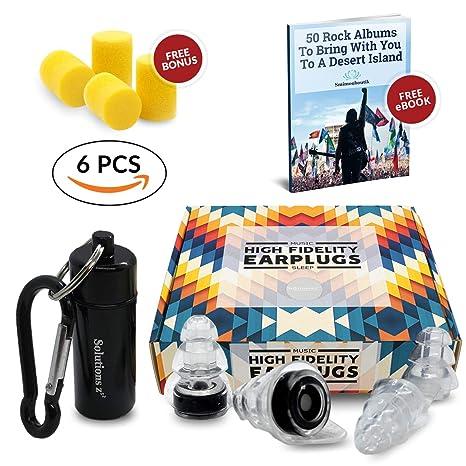 Best Music Ear Plugs [2 SIZES] Solutions ZZZ - Hi-Fi Hearing protection for  Party, Concert, Festival, Disco, DJ, Small Ears - BONUS: Foam Ear Plugs [2